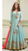 Light Blue Embellished Gown
